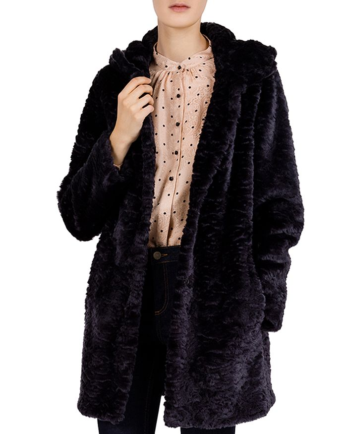 Gerard Darel - Marty Hooded Faux-Fur Coat