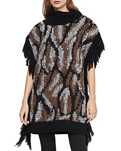 BCBGMAXAZRIA - Fringed Turtleneck Tunic