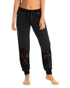 MIDNIGHT BAKERY Velour Jacquard-Inset Jogger Pants in Black