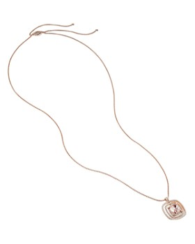 """David Yurman - Chatelaine Pavé Bezel Necklace in 18K Rose Gold with Morganite and Diamonds, 36"""""""