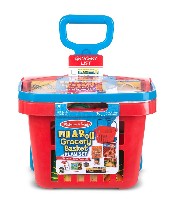 Melissa & Doug - Fill & Roll Grocery Basket Play Set - Ages 3+