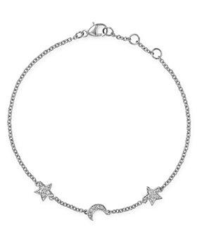 Bloomingdale's - Pavé Diamond Moon & Star Bracelet in 14K White Gold, 0.10 ct. t.w. - 100% Exclusive