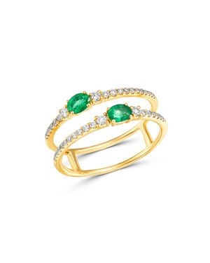 Bloomingdale's Emerald & Diamond Double Row Band in 14K Yellow Gold - 100% Exclusive