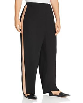 Eileen Fisher Plus - Silk Tuxedo Stripe Straight Pants