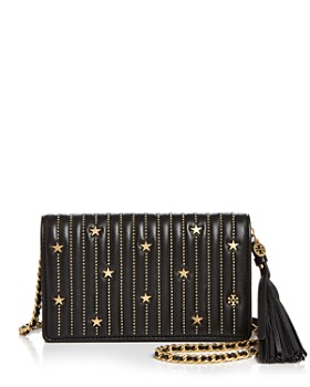 Tory Burch - Star Stud Flat Leather Chain Wallet