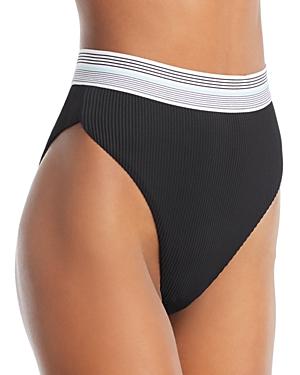 Dolce Vita Fast Lane Ribbed High Waist Bikini Bottom-Women