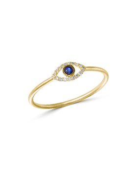 Meira T - 14K Yellow Gold Evil Eye Blue Sapphire & Diamond Ring