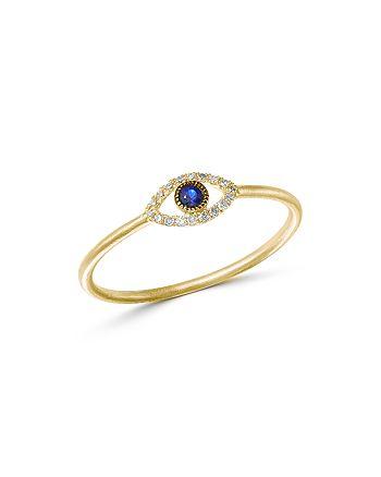 Meira T 14k Yellow Gold Evil Eye Blue Sapphire Diamond Ring