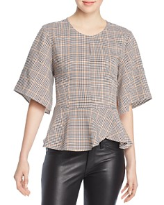 Marled - Plaid Peplum Top