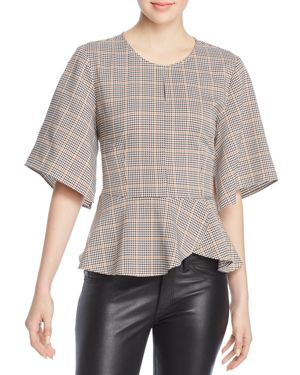 MARLED Plaid Peplum Top