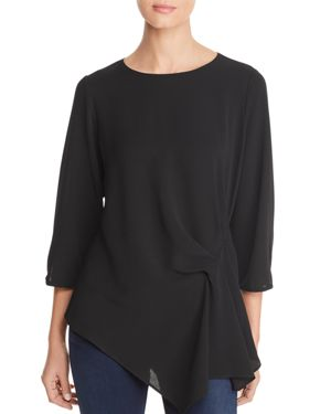 STATUS BY CHENAULT Status By Chenault Side Drape Top in Black