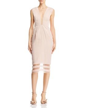 SAU LEE - Kendall Plunging Illusion Dress