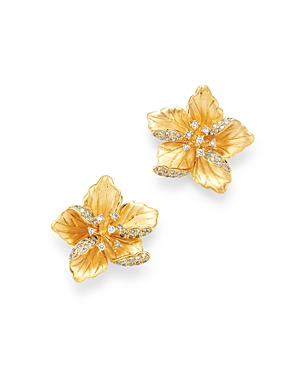 Bloomingdale's Diamond Flower Earrings in 14K Textured Yellow Gold, 0.30 ct. t.w. - 100% Exclusive