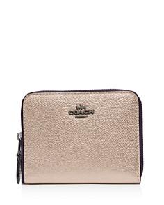 COACH - Small Metallic Leather Zip Around Wallet