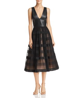NHA KHANH Faux-Leather & Tulle Dress in Black
