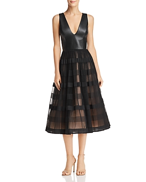 Nha Khanh Faux-Leather & Tulle Dress