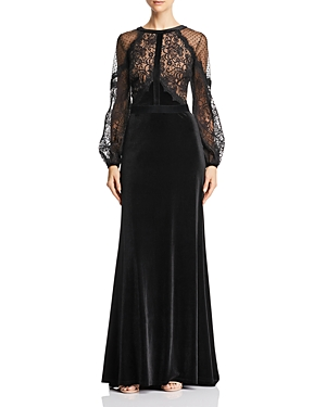 Vintage Dresses Australia- 20s, 30s, 40s, 50s, 60s, 70s Tadashi Shoji Lace  Velvet Gown AUD 590.33 AT vintagedancer.com