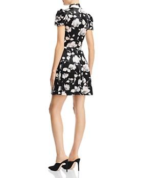 AQUA - Floral Velvet Puff-Sleeve Skater Dress - 100% Exclusive