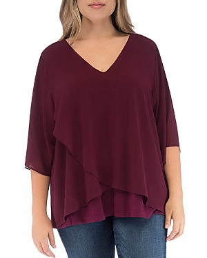 B Collection by Bobeau Curvy Bria Mixed Media Overlay Top