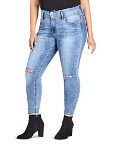 City Chic Plus - Harley Ripped Knee Skinny Jeans in Mid Denim