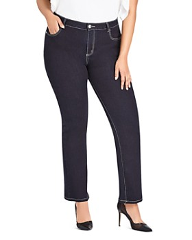 City Chic Plus - Straight Leg Jeans in Denim Mid