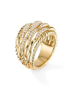 David Yurman - Tides Woven Ring in 18K Yellow Gold with Diamonds