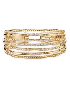 David Yurman - Tides Cuff Bracelet in 18K Yellow Gold with Diamonds