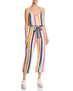 AQUA - Rainbow-Stripe Tie-Front Cropped Pants