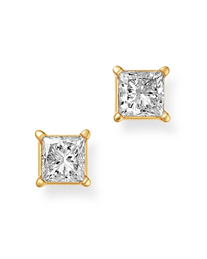 Bloomingdale's Diamond Princess-Cut Solitaire Stud Earrings in 14K Yellow Gold, 1.0 ct. t.w. - 100%