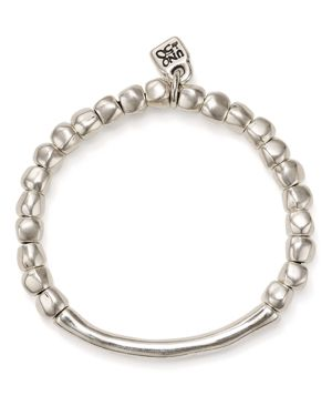 UNO DE 50 Uno De 50 Journey Beaded Logo Charm Bracelet in Silver
