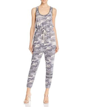 VINTAGE HAVANA Sleeveless Camo Jumpsuit in Blue