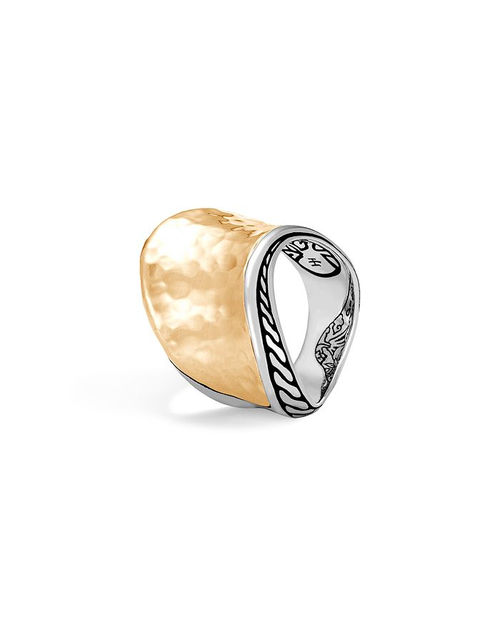 John Hardy 18k Yellow Gold Classic Hammered Chain Wave Ring With Sterling Silver In Gold/silver