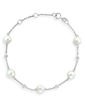 Bloomingdale's - Freshwater Pearl & Diamond Bezel Bracelet in 14K White Gold - 100% Exclusive