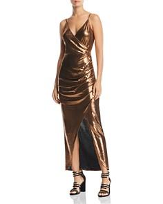 WAYF - Sonnie Metallic Ruched Maxi Dress