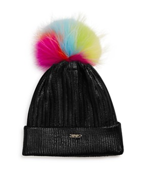 GiGi - Girls' Metallic Hat with Neon Fur Pom - 100% Exclusive