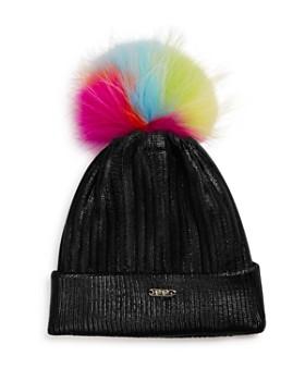 GiGi - Girls' Metallic Hat with Neon Fur Pom - 100% Exclusive