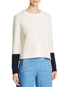 Tory Burch - Color-Blocked Merino Wool Sweater
