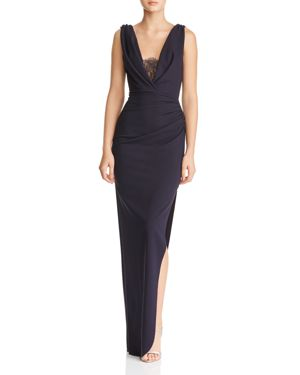 KATIE MAY Lace-Inset Crepe Gown in Navy