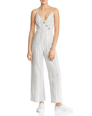 EN CREME Striped Button-Detail Jumpsuit in White Multi