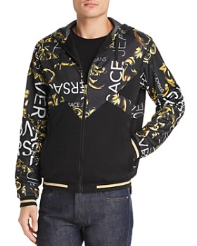 Versace Jeans - Mixed-Media Color-Block Logo Graphic Hoodie ... 0888fe04494