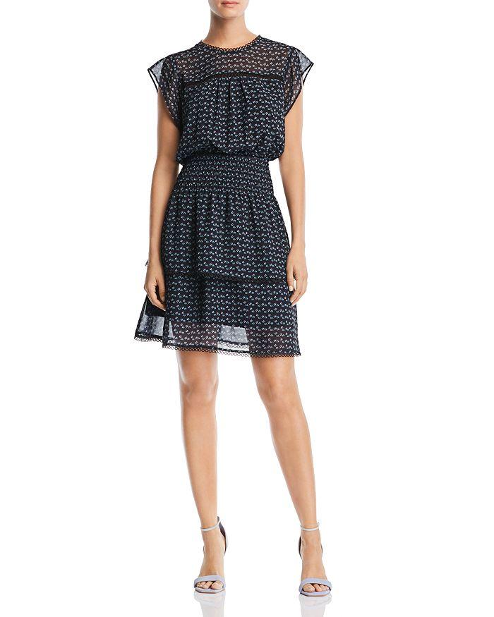 AQUA - Ditsy-Floral Cap-Sleeve Dress - 100% Exclusive