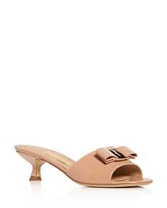 Salvatore Ferragamo - Women's Gino Kitten-Heel Slide Sandals