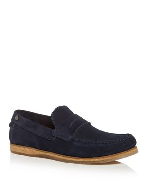 PENGUIN Men'S Charles Suede Moc-Toe Penny Loafers in Navy