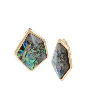 Robert Lee Morris Soho Geometric Abalone Stone Clip-On Earrings
