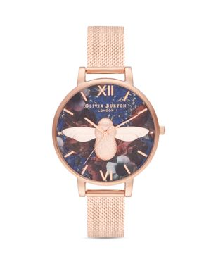 Olivia Burton Floral-Dial Bee Motif Watch, 38mm