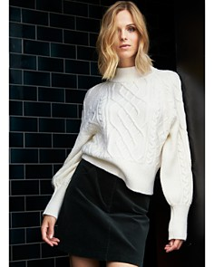 1.STATE - Puff Sleeve Cable Knit Sweater