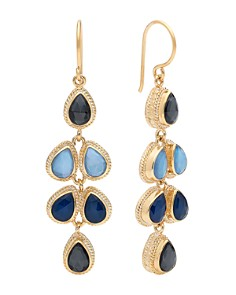 Anna Beck - Sapphire & Hematite Teardrop Earrings in 18K Gold-Plated Sterling Silver