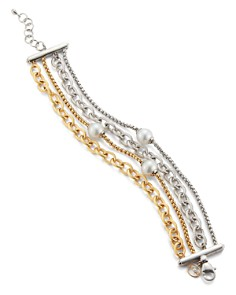 ALOR - Cultured Freshwater Pearl Two-Tone Bracelet