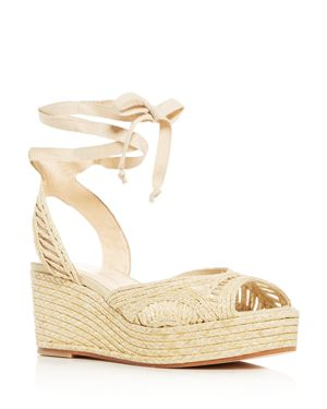 ISA TAPIA Women'S Bogatell Ankle-Tie Platform Wedge Sandals in Natural