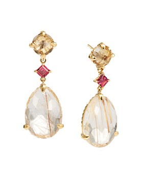 David Yurman - Chatelaine Drop Earrings in 18K Yellow Gold with Rutilated Quartz, Champagne Citrine & Pink Tourmaline